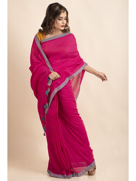 Khadi Cotton Fuchsia Pink Teal Green Border Pompom Handloom Saree with Blouse Piece-2