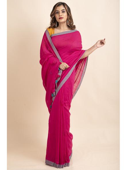 Khadi Cotton Fuchsia Pink Teal Green Border Pompom Handloom Saree with Blouse Piece-LAAKCHS005