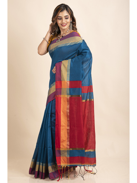 Turquoise Blue Cotton Handloom with Red Pallu Saree-2