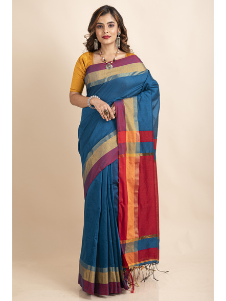 Turquoise Blue Cotton Handloom with Red Pallu Saree-LAACHS022