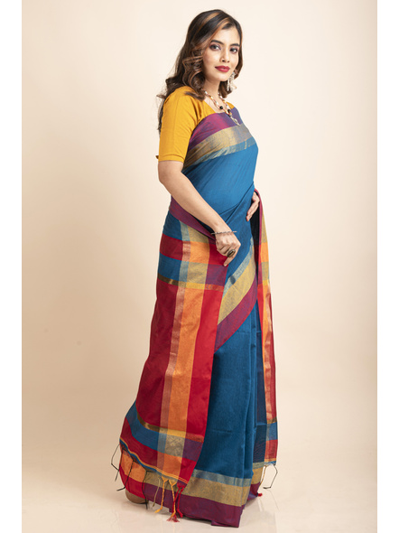 Turquoise Blue Cotton Handloom with Red Pallu Saree-4