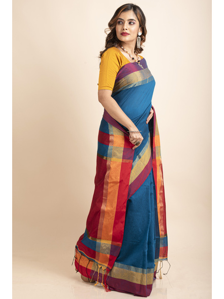 Turquoise Blue Cotton Handloom with Red Pallu Saree-3