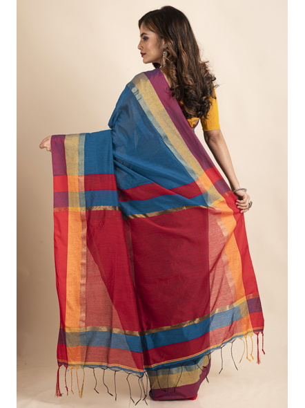 Turquoise Blue Cotton Handloom with Red Pallu Saree-1