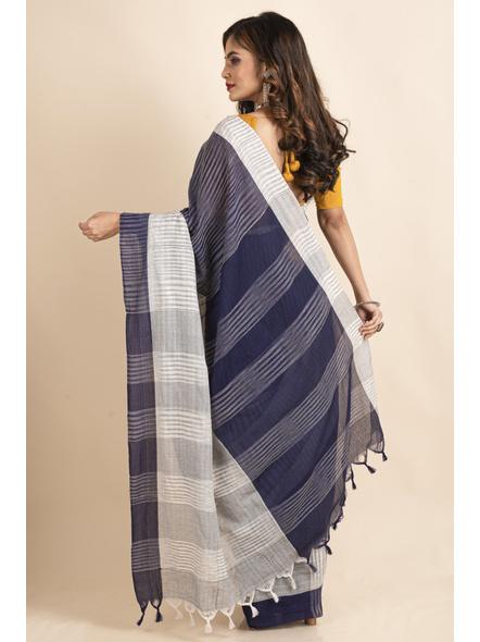 Pure Cotton Grey Blue Santipuri Pompom Jharna Khadi Saree-1