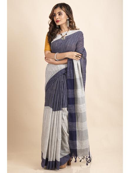 Pure Cotton Grey Blue Santipuri Pompom Jharna Khadi Saree-2
