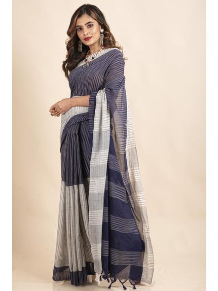 Pure Cotton Grey Blue Santipuri Pompom Jharna Khadi Saree-4