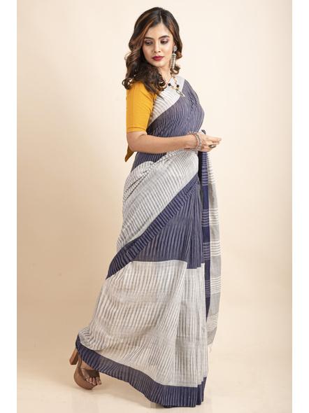 Pure Cotton Grey Blue Santipuri Pompom Jharna Khadi Saree-3