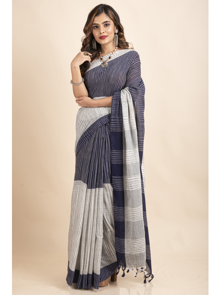 Pure Cotton Grey Blue Santipuri Pompom Jharna Khadi Saree-LAAJKCS007