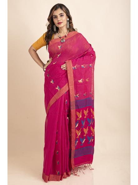 Pink Blue Bird Woven Cotton Silk Golden Zari Saree with Blouse Piece-LAACSHS018