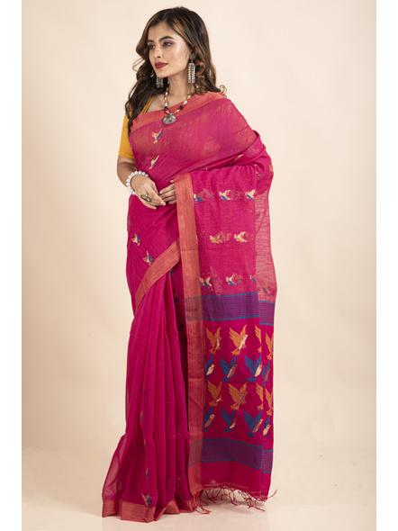 Pink Blue Bird Woven Cotton Silk Golden Zari Saree with Blouse Piece-4