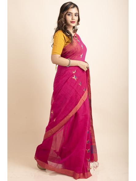 Pink Blue Bird Woven Cotton Silk Golden Zari Saree with Blouse Piece-3