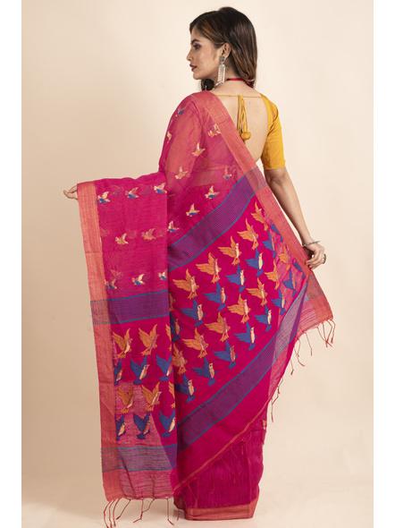 Pink Blue Bird Woven Cotton Silk Golden Zari Saree with Blouse Piece-1