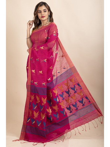 Pink Blue Bird Woven Cotton Silk Golden Zari Saree with Blouse Piece-2