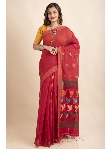 Red Green Bird Woven Cotton Silk Golden Zari Saree with Blouse Piece-LAACSHS019