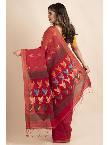 Red Green Bird Woven Cotton Silk Golden Zari Saree with Blouse Piece-1