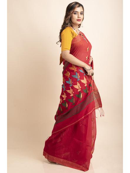 Red Green Bird Woven Cotton Silk Golden Zari Saree with Blouse Piece-3