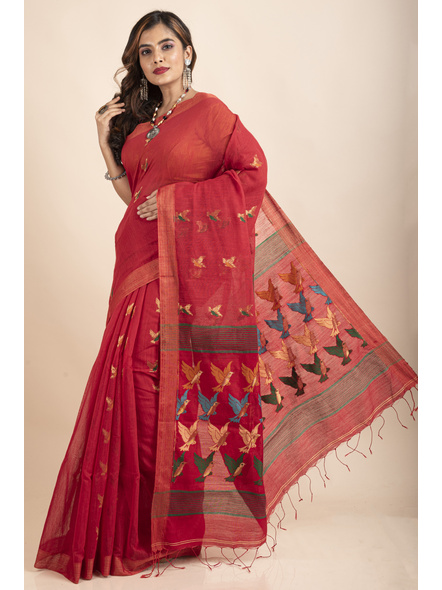 Red Green Bird Woven Cotton Silk Golden Zari Saree with Blouse Piece-2