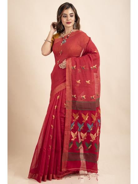 Red Green Bird Woven Cotton Silk Golden Zari Saree with Blouse Piece-4
