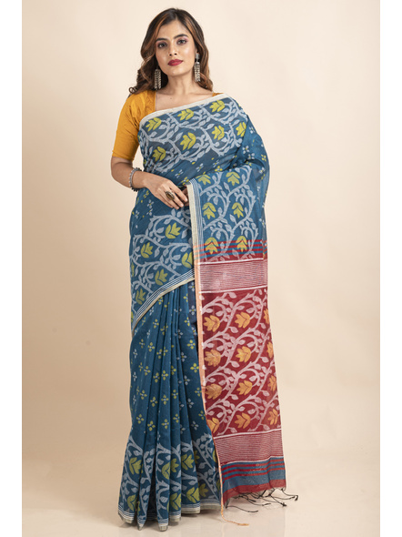 Blue Maroon Cotton Silk Madhabilata Print Saree with Blouse Piece-LAACSHS020