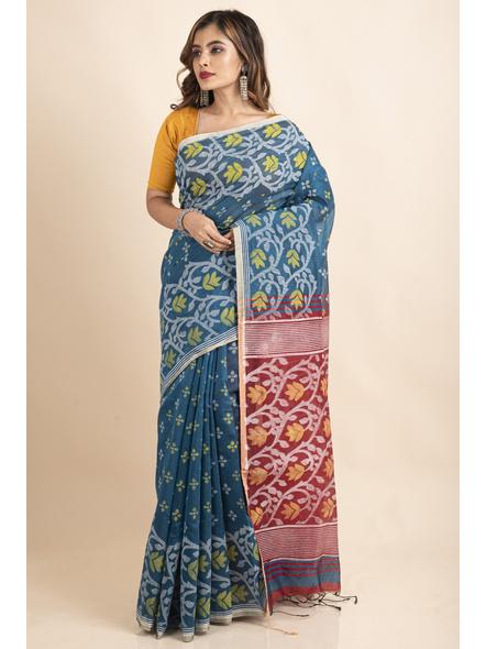 Blue Maroon Cotton Silk Madhabilata Print Saree with Blouse Piece-4