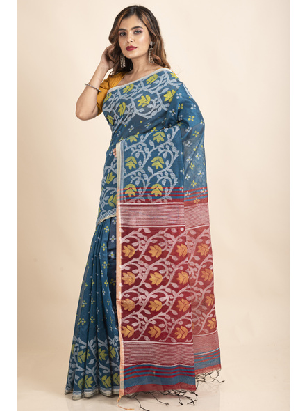 Blue Maroon Cotton Silk Madhabilata Print Saree with Blouse Piece-5