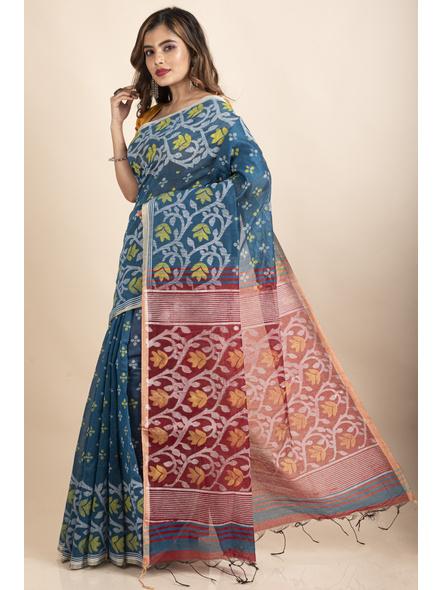 Blue Maroon Cotton Silk Madhabilata Print Saree with Blouse Piece-2