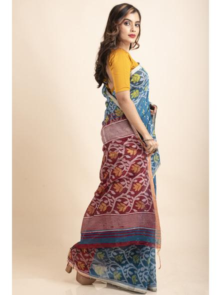 Blue Maroon Cotton Silk Madhabilata Print Saree with Blouse Piece-3