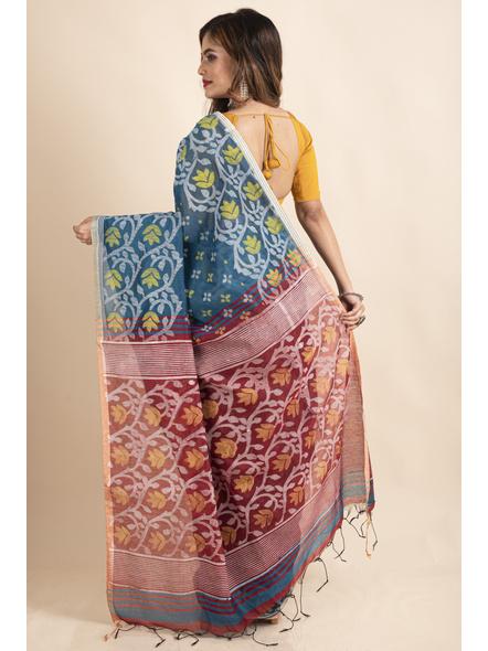 Blue Maroon Cotton Silk Madhabilata Print Saree with Blouse Piece-1
