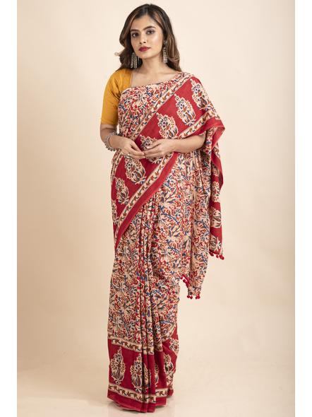 Pure Cotton Red Blue Floral Kalamkari Pompom Saree-LAAPCKS006