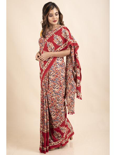 Pure Cotton Red Blue Floral Kalamkari Pompom Saree-5