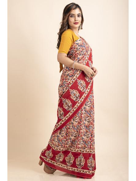 Pure Cotton Red Blue Floral Kalamkari Pompom Saree-3