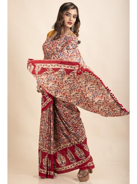 Pure Cotton Red Blue Floral Kalamkari Pompom Saree-2