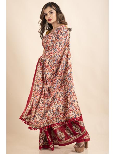Pure Cotton Red Blue Floral Kalamkari Pompom Saree-4