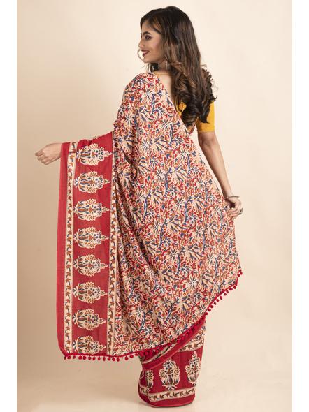 Pure Cotton Red Blue Floral Kalamkari Pompom Saree-1