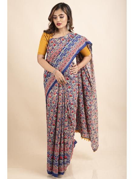 Pure Cotton Blue Red Floral Kalamkari Yellow Pompom Saree-LAAPCKS007