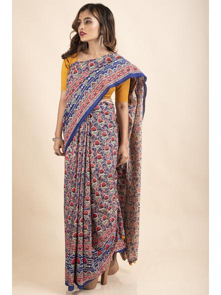 Pure Cotton Blue Red Floral Kalamkari Yellow Pompom Saree-3