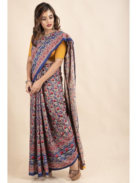 Pure Cotton Blue Red Floral Kalamkari Yellow Pompom Saree-5