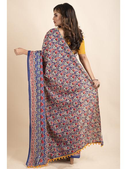 Pure Cotton Blue Red Floral Kalamkari Yellow Pompom Saree-1