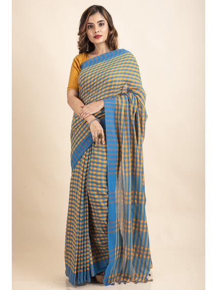 Turquoise Blue Mango Yellow Cotton Handloom Checkered Gamcha Saree-LAACHS023