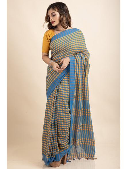 Turquoise Blue Mango Yellow Cotton Handloom Checkered Gamcha Saree-4