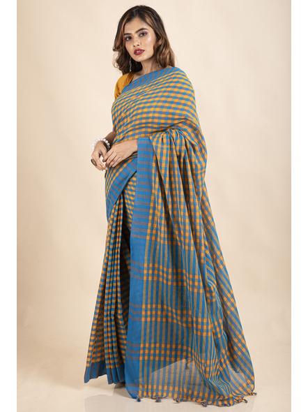 Turquoise Blue Mango Yellow Cotton Handloom Checkered Gamcha Saree-5