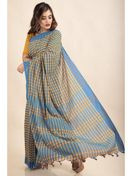 Turquoise Blue Mango Yellow Cotton Handloom Checkered Gamcha Saree-2