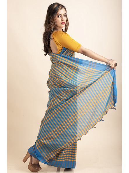Turquoise Blue Mango Yellow Cotton Handloom Checkered Gamcha Saree-3