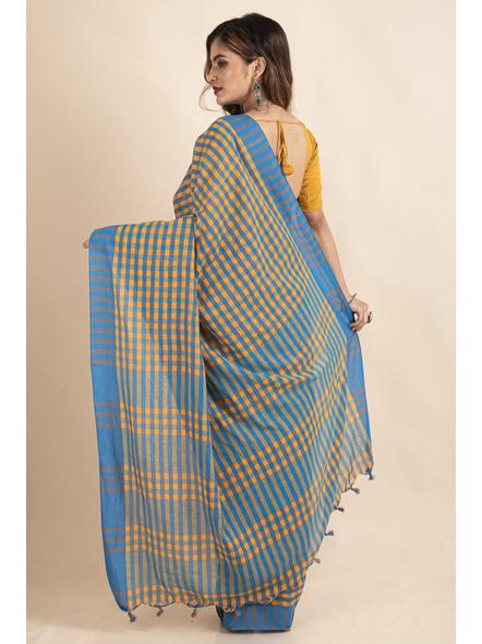 Turquoise Blue Mango Yellow Cotton Handloom Checkered Gamcha Saree-1