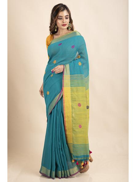 Teal Green Lemon Yellow Khadi Cotton Handloom Saree with Blouse Piece-4