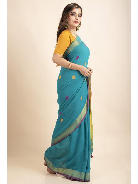 Teal Green Lemon Yellow Khadi Cotton Handloom Saree with Blouse Piece-5