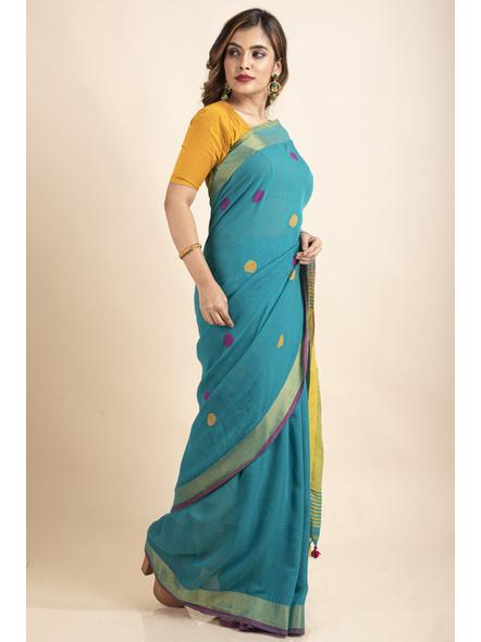 Teal Green Lemon Yellow Khadi Cotton Handloom Saree with Blouse Piece-3