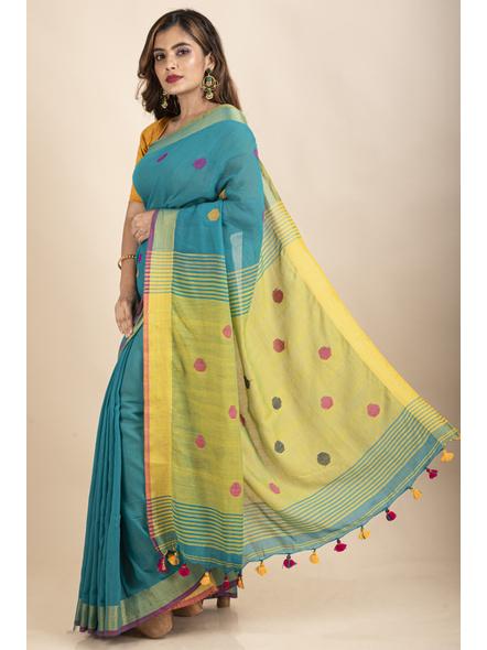 Teal Green Lemon Yellow Khadi Cotton Handloom Saree with Blouse Piece-2