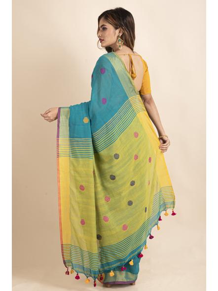 Teal Green Lemon Yellow Khadi Cotton Handloom Saree with Blouse Piece-1