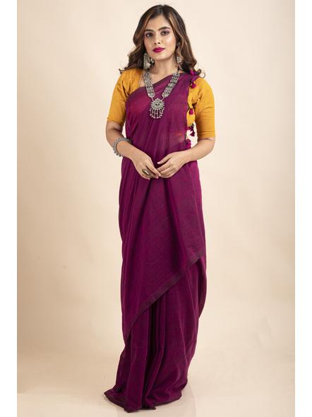 Grape Purple Mercerized Handloom Khadi Cotton Saree with Blouse Piece-3